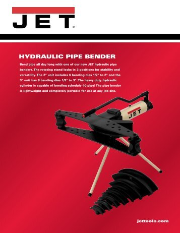 HYDRAULIC PIPE BENDER - JET Tools