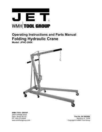 2 ton hydraulic shop crane jet tools rh yumpu com Hand Tools jet power tools manuals