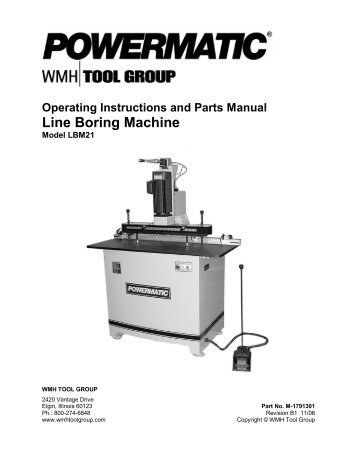Operating Instructions and Parts Manual 20-inch Planer