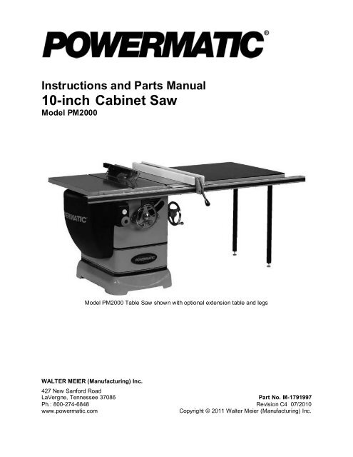 Instructions And Parts Manual 10-inch Cabinet Saw - Powermatic