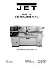 Parts List - JET Tools