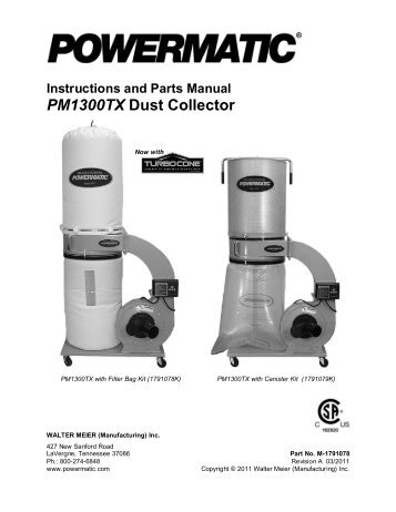 Instructions And Parts Manual PM1300TX Dust Collector - Powermatic