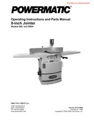 Operating Instructions And Parts Manual 8-inch Jointer