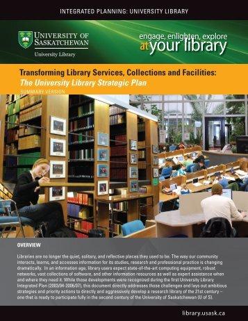 your library - University Library - University of Saskatchewan