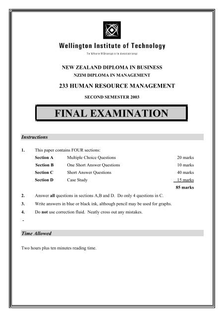 FINAL EXAMINATION - WelTec Library
