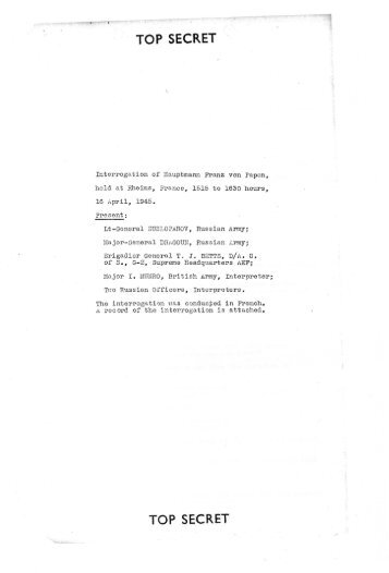 Interrogation of Hauptmann Franz von Papen, held at Rheims ...