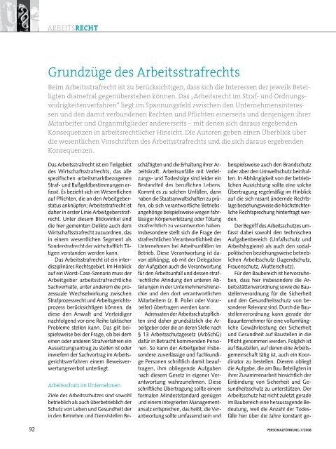 Grundzüge des Arbeitsstrafrechts - Strafverteidiger Rainer Brüssow ...