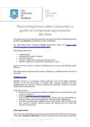 Borrowing from other Libraries - University of Sheffield
