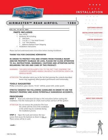 AIRMASTER™ REAR AIRfOIL 1384 - Kuryakyn