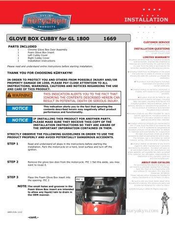 Kuryakyn 1669 Goldwing GL1800 Glove Box Cubby Installation