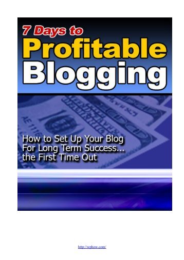 Seven Days to a Profitable Blog - Lifecycle Performance Pros