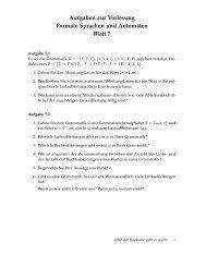 Aufgaben zur Vorlesung Formale Sprachen und Automaten Blatt 7