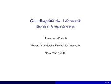 Grundbegriffe der Informatik - Einheit 6: formale Sprachen