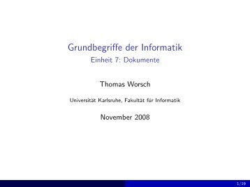 Grundbegriffe der Informatik - Einheit 7: Dokumente