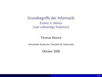 Grundbegriffe der Informatik - Einheit 4: Wörter (und vollständige ...