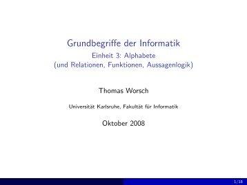 Grundbegriffe der Informatik - Einheit 3: Alphabete (und Relationen ...