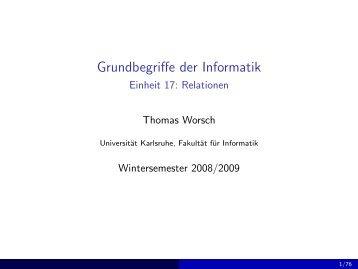 Grundbegriffe der Informatik - Einheit 17: Relationen