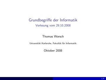Grundbegriffe der Informatik - Vorlesung vom 29.10.2008