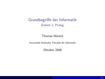 Grundbegriffe der Informatik - Einheit 1: Prolog