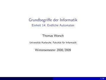 Grundbegriffe der Informatik - Einheit 14: Endliche Automaten