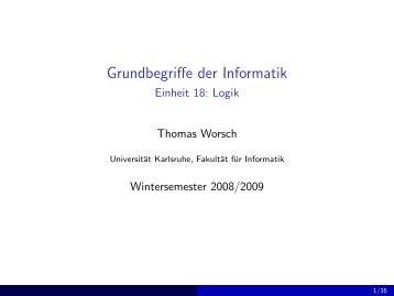 Grundbegriffe der Informatik - Einheit 18: Logik