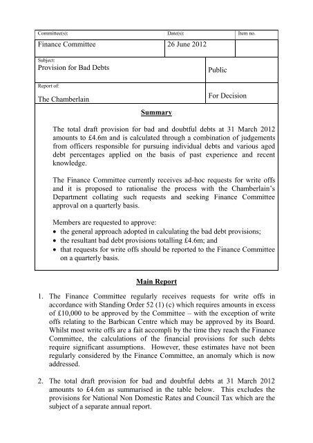 Item 12 - Provision for Bad Debts FINAL PDF 103 KB