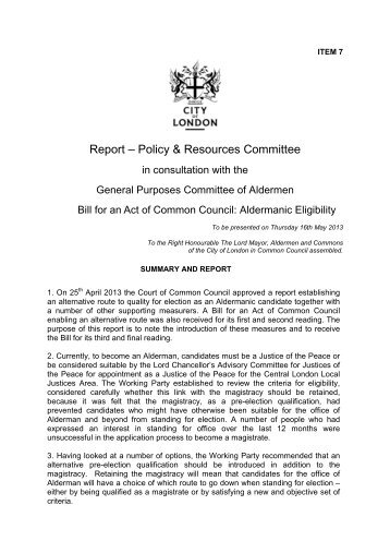 Bill for an Act of Common Council PDF 231 KB - City of London ...