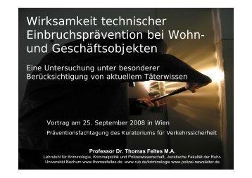 Wirksamkeit technischer Einbruchsprävention bei Wohn- und - Kfv