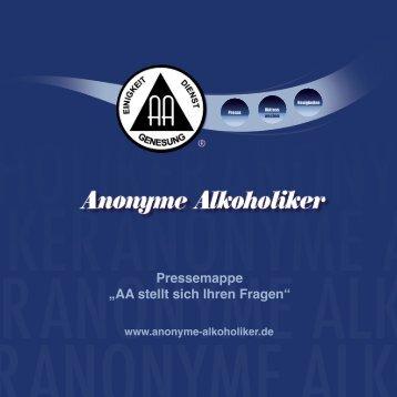 """Pressemappe """"AA stellt sich Ihren Fragen"""" - Anonyme Alkoholiker"""