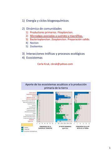 1) Energía y ciclos biogeoquímicos 2) Dinámica de comunidades 3 ...