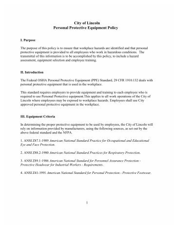 city of lincoln personal protective equipment policy