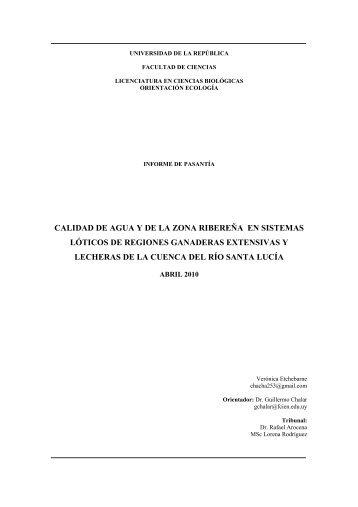 Tesina - Sección Limnología - Facultad de Ciencias