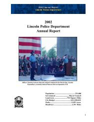 2002 Lincoln Police Department Annual Report - City of Lincoln ...