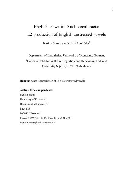 English schwa in Dutch vocal tracts: L2 production of