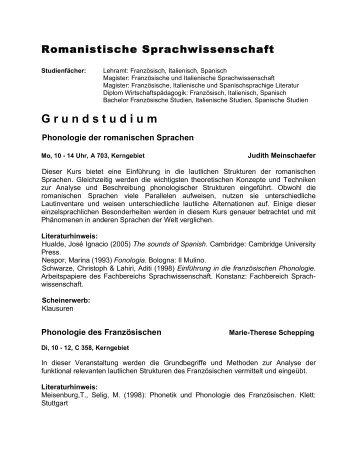 G r u n d s t u d i u m - Fachbereich Sprachwissenschaft - Universität ...