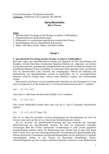 Sprachkontakte - Universität Konstanz
