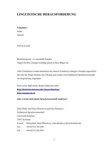Herausforderung - Fachbereich Sprachwissenschaft - Universität ...