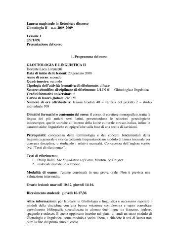 Lezione 1 - Università degli Studi di Cassino - Glottologia e Linguistica