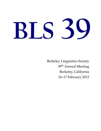 conference program - Linguistics - University of California, Berkeley