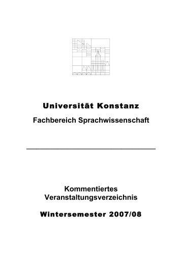 Kommentiertes Veranstaltungsverzeichnis - Fachbereich ...