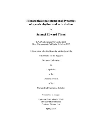 Hierarchical spatiotemporal dynamics of speech rhythm - Linguistics ...