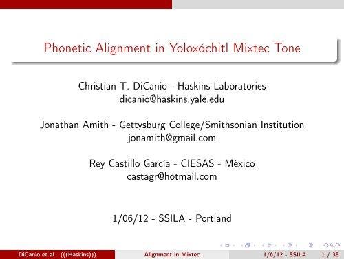 Phonetic Alignment in Yoloxóchitl Mixtec Tone - Linguistics
