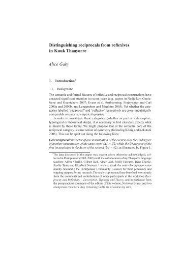 Distinguishing reciprocals from reflexives in Kuuk ... - Linguistics