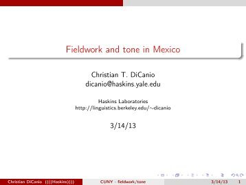 Fieldwork and tone in Mexico - Linguistics - University of California ...
