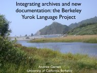 Integrating archives and new documentation - Linguistics ...