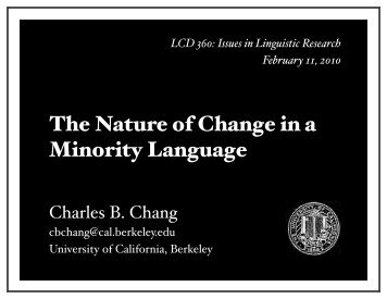 slides - Linguistics - University of California, Berkeley