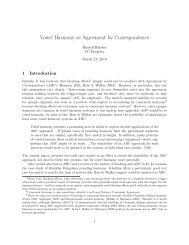 Vowel Harmony as Agreement by Correspondence - Linguistics ...