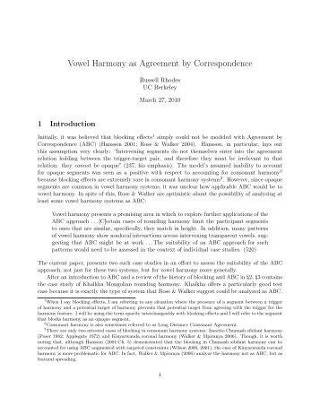 Vowel Harmony As Agreement By Correspondence Linguistics