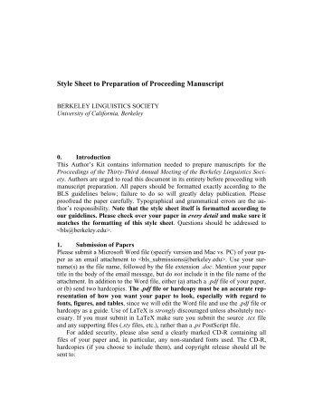 Style Sheet to Preparation of Proceeding Manuscript - Linguistics ...