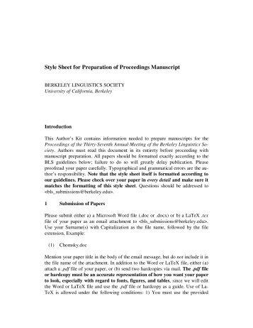 Style Sheet for Preparation of Proceedings Manuscript - Linguistics ...